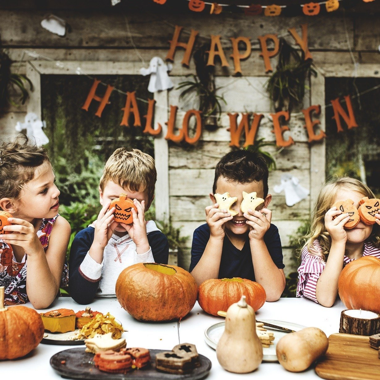 Playful kids enjoying a Halloween party